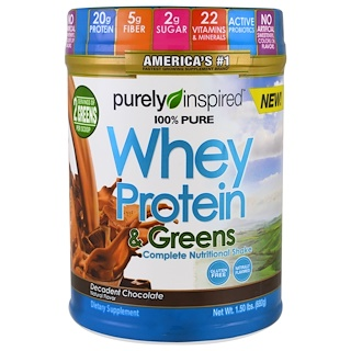 Purely Inspired, 100% Pure Whey Protein & Greens, Decadent Chocolate, 1.5 lbs (680 g)