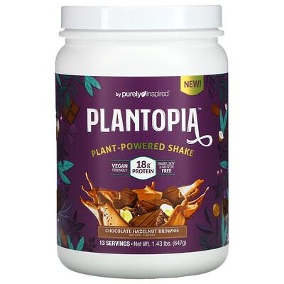 Purely Inspired Plantopia, Plant-Powered Shake, Chocolate Hazelnut Brownie, 1.43 lbs (647 g)