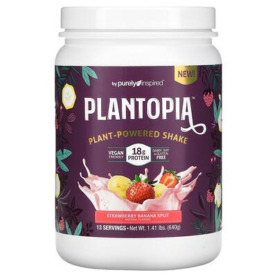 Purely Inspired Plantopia, Plant-Powered Shake, Strawberry Banana Split, 1.41 lbs (640 g)