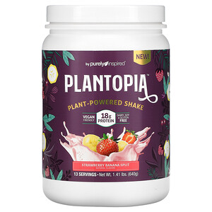 Purely Inspired, Plantopia, Plant-Powered Shake, Strawberry Banana Split, 1.41 lbs (640 g)