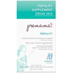 Premama, خليط المشروب المكمل الغذائي للخصوبة ، غير منكه، 28 عبوة، 2.17 أونصة (62 غ)