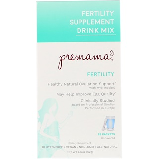 Premama, Fertility Supplement Drink Mix, Fertility, Unflavored, 28 Packets, 2.17 oz (62 g)