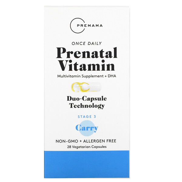 Once Daily Prenatal Vitamin, Stage 3 Carry, 28 Vegetarian Capsules