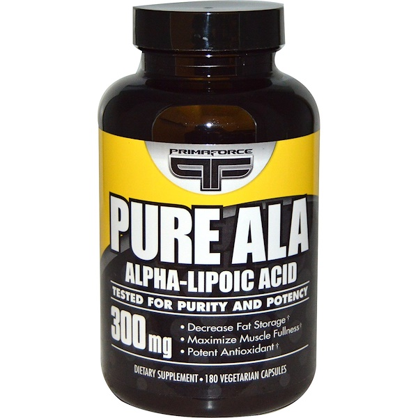 Primaforce, Pure ALA, Alpha-Lipoic Acid, 300 mg, 180 Veggie Caps (Discontinued Item)