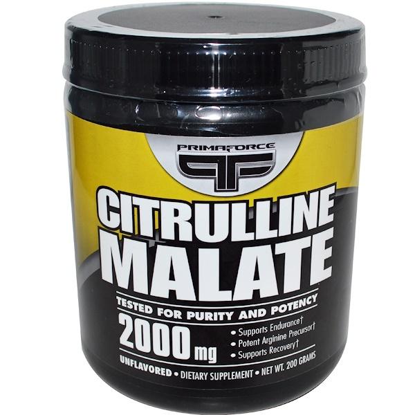 Primaforce, Цитруллин малат, без вкуса, 2000 мг, 200 г (Discontinued Item)