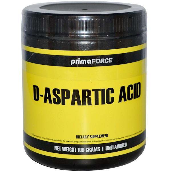 Primaforce, D-Aspartic Acid, Unflavored, 100 g (Discontinued Item)