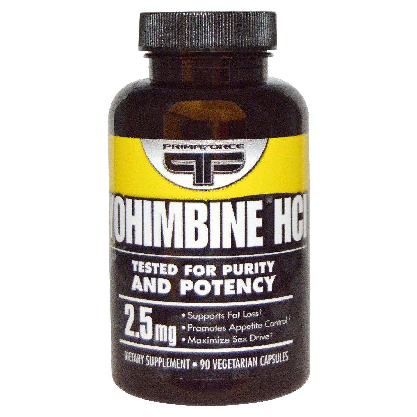 Primaforce, Иохимбин HCL, 2,5 мг, 90 вегетарианских капсул