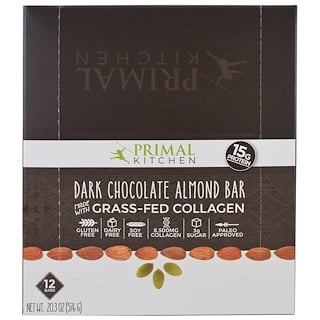 Primal Kitchen, Dark Chocolate Almond, Grass-Fed Collagen, 12 Bars, 1.7 oz (48 g) Each