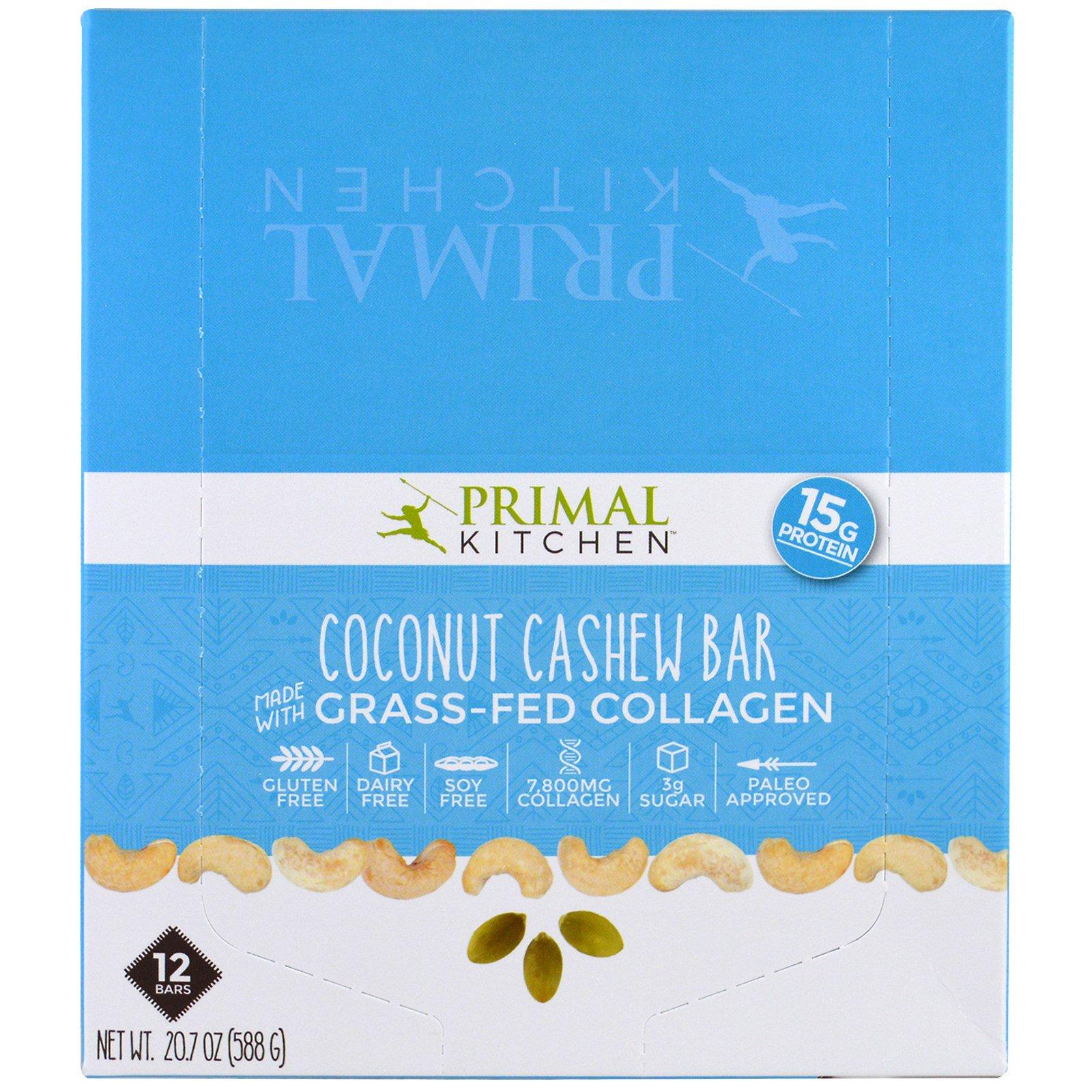 Primal Kitchen, Кокосовый орех, кешью, коллаген с травами, 12 батончиков, 1,7 унции (49 г) каждый