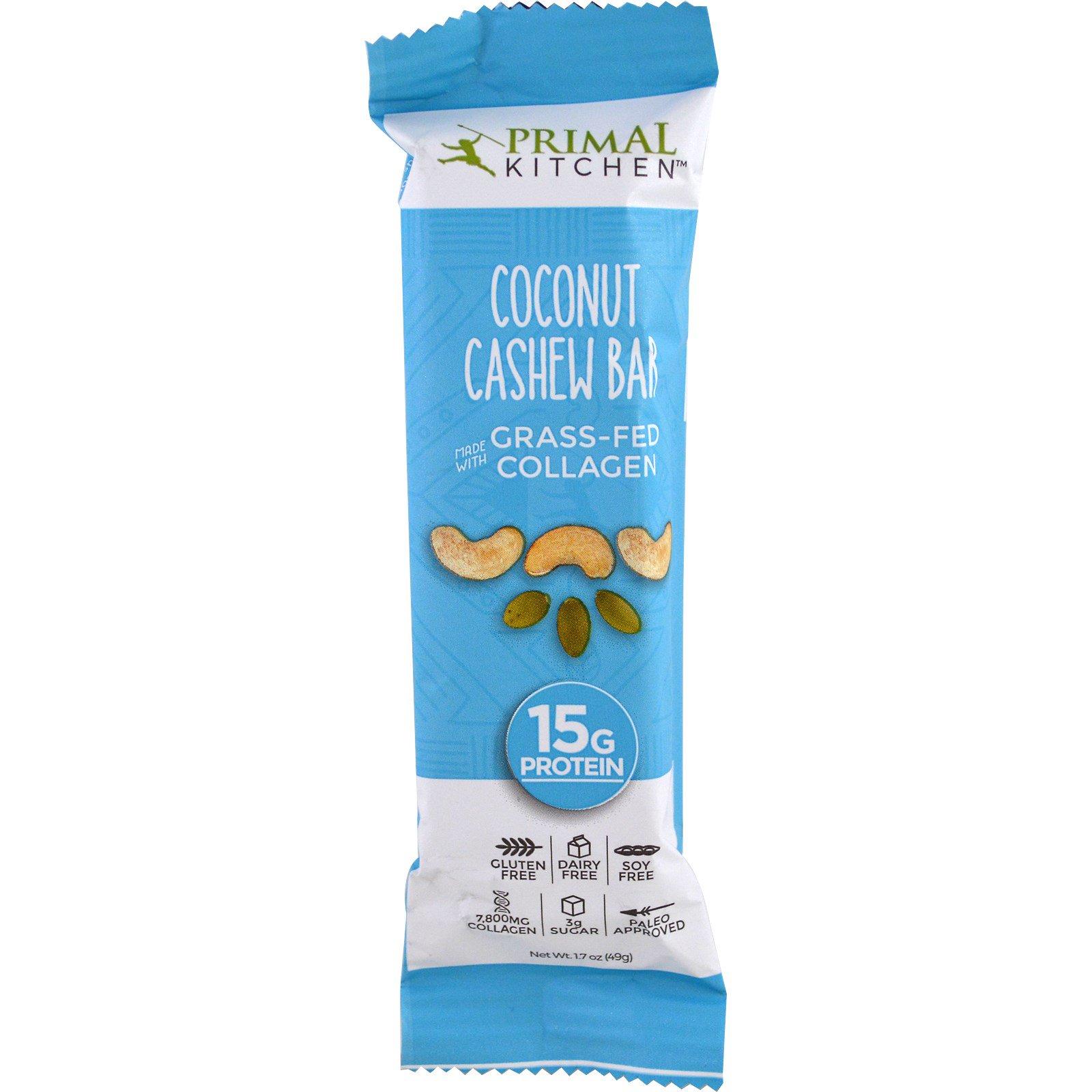 Primal Kitchen, Coconut Cashew, Grass-Fed Collagen, 12 Bars, 1.7 oz ...