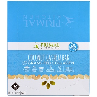 Primal Kitchen, Coconut Cashew, Grass-Fed Collagen, 12 Bars, 1.7 oz (49 g) Each