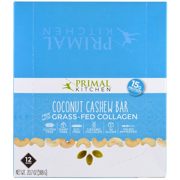 Primal Kitchen, ココナッツカシュー、グラスフェッド(牧草飼育)コラーゲン、バー12 本、各1.7オンス (49 g)