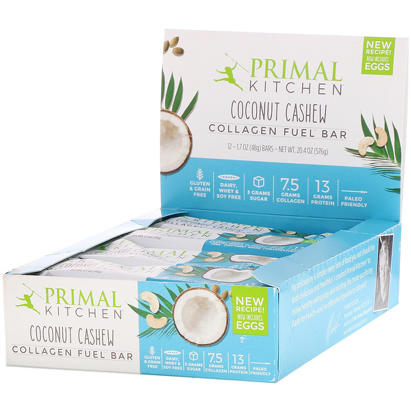 Primal Kitchen, Collagen Fuel Bar, Coconut Cashew, 12 Bars, 1.7 oz (48 g) Each (Discontinued Item)