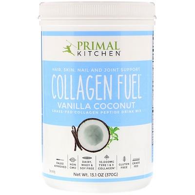 Collagen Fuel, напиток с коллагеном и пептидами от животных на подножном корму, со вкусом ванильного кокоса, 370 г