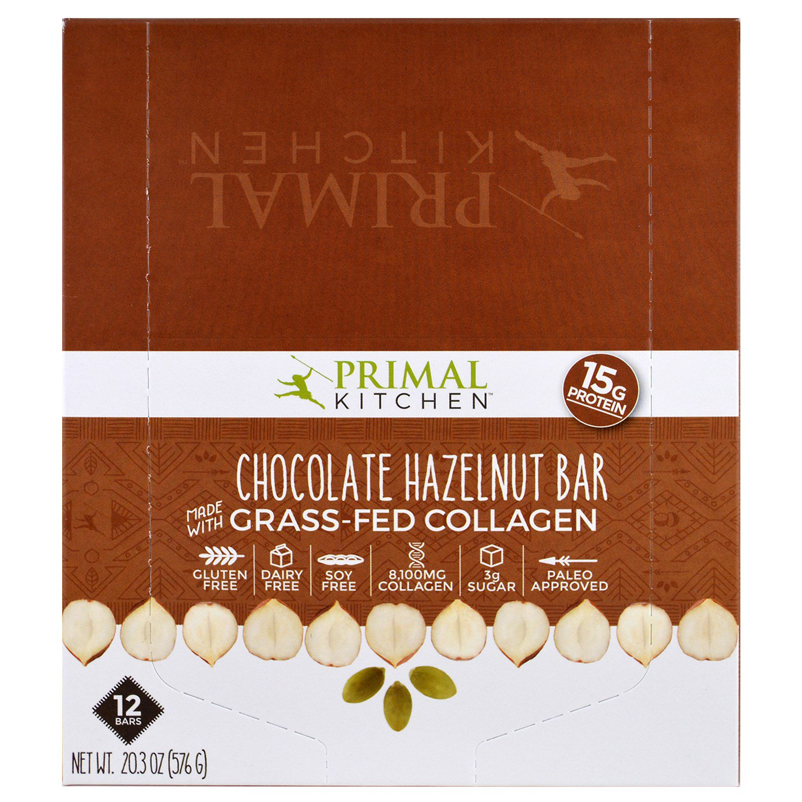 Primal Kitchen, Chocolate Hazelnut, Grass-Fed Collagen, 12 Bars, 1.7 ...