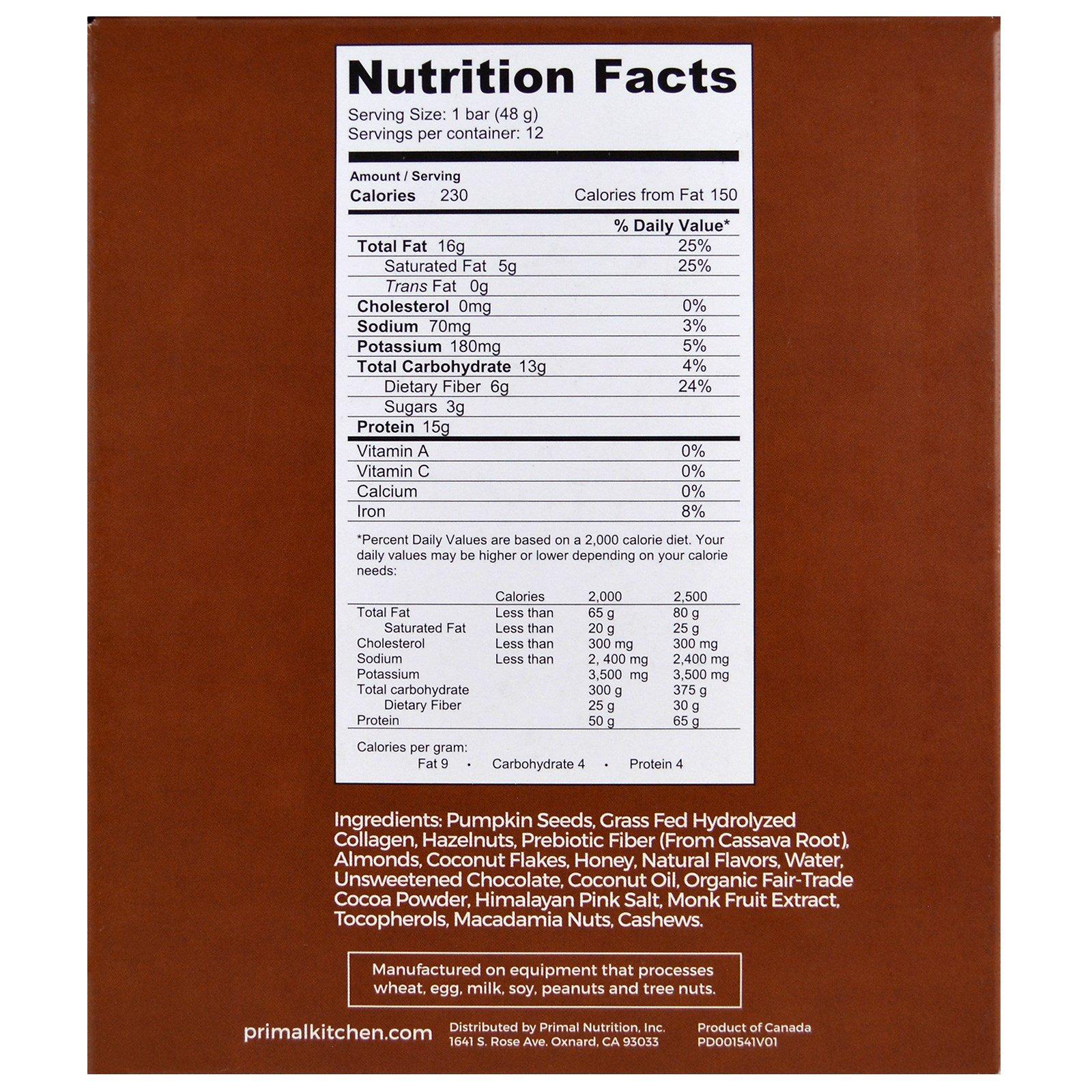 Primal Kitchen, Chocolate Hazelnut, Grass-Fed Collagen, 12 Bars, 1.7 ...