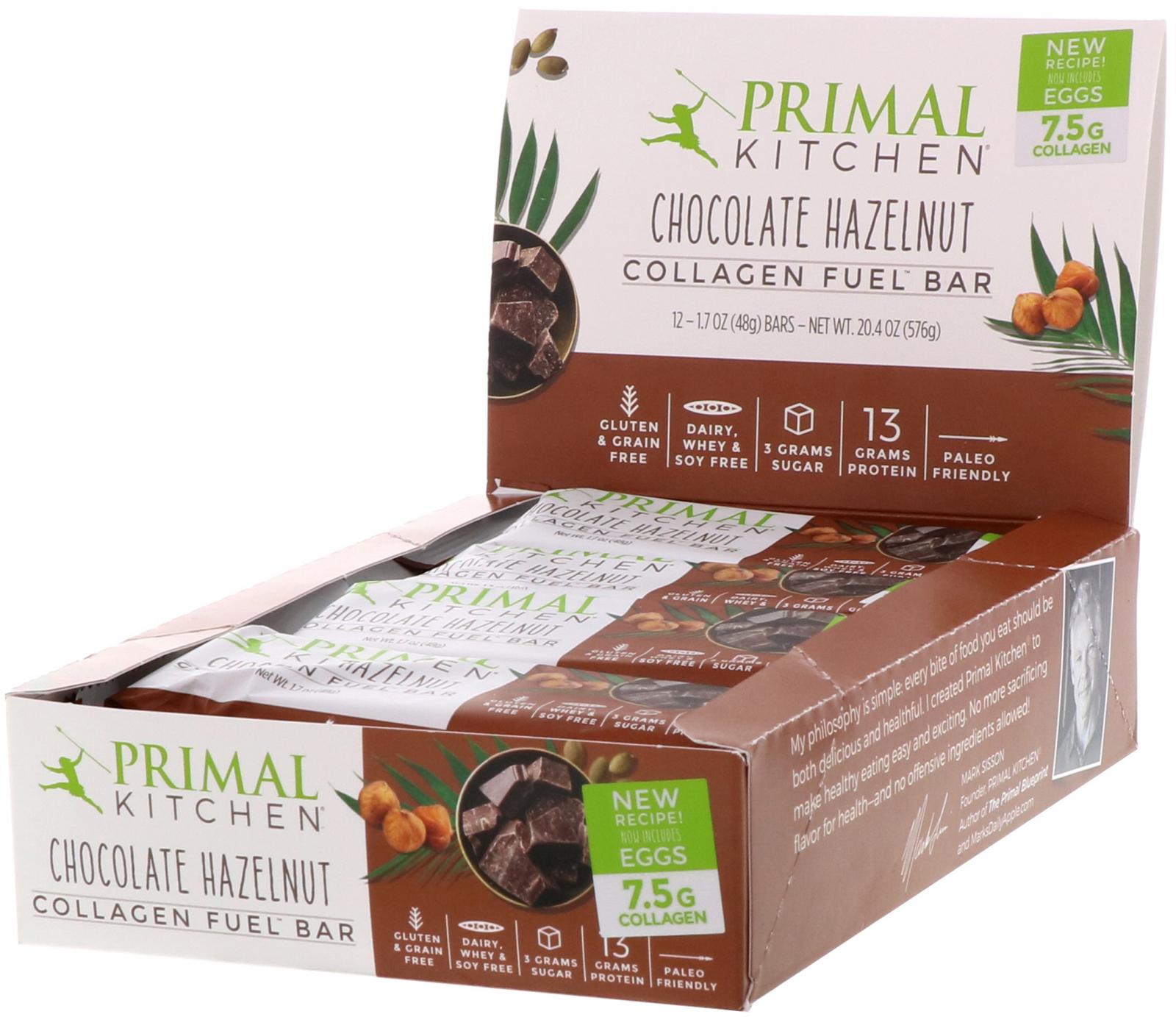 Primal Kitchen Collagen Fuel Bar Chocolate Hazelnut 12 Bars 1 7 Oz 48 G Each Iherb