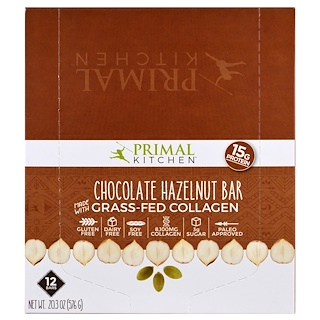 Primal Kitchen, Chocolate Hazelnut, Grass-Fed Collagen, 12 Bars, 1.7 oz (48 g) Each