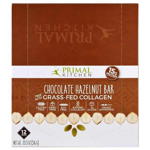 Primal Kitchen, 巧克力榛子,草食性膠原蛋白,12條,每條1、7盎司(48克)
