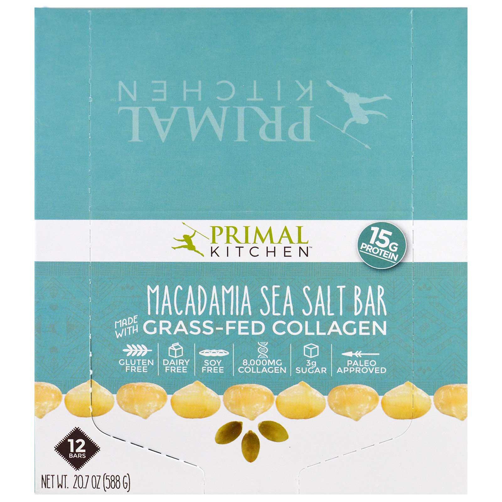 Primal Kitchen, Macadamia Sea Salt, Grass-Fed Collagen, 12 Bars, 1.7 ...