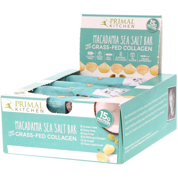 Primal Kitchen, Grass-Fed Collagen Bar, Macadamia Sea Salt, 12 Bars, 20.7 oz (588 g)
