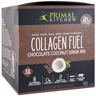 Primal Kitchen, Hair, Skin, Nail and Joint Support Drink Mix, Collagen Fuel, Chocolate Coconut, 12 Packets, 1.3 oz (36 g) Each