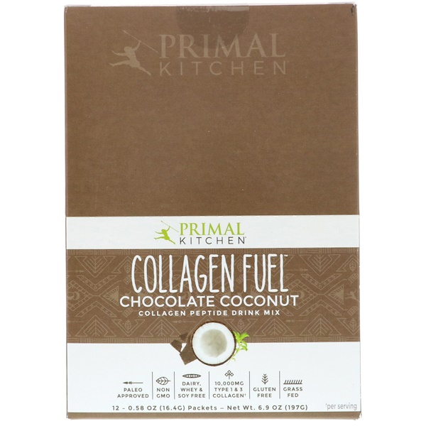 Primal Kitchen, Collagen Fuel, Collagen Peptide Drink Mix, Chocolate Coconut, 12 Packets, 0.58 oz (16.4 g) Each (Discontinued Item)