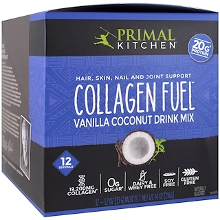 Primal Kitchen, Hair, Skin, Nail and Joint Support Drink Mix, Collagen Fuel, Vanilla Coconut, 12 Packets, 1.2 oz (33 g) Each