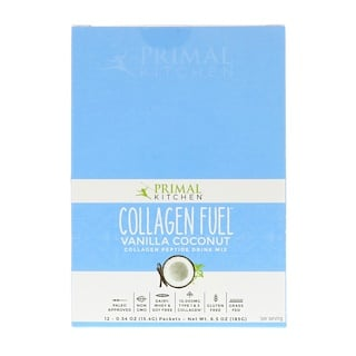 Primal Kitchen, Collagen Fuel, Collagen Peptide Drink Mix, Vanilla Coconut, 12 Packets, 0.54 oz (15.4 g) Each
