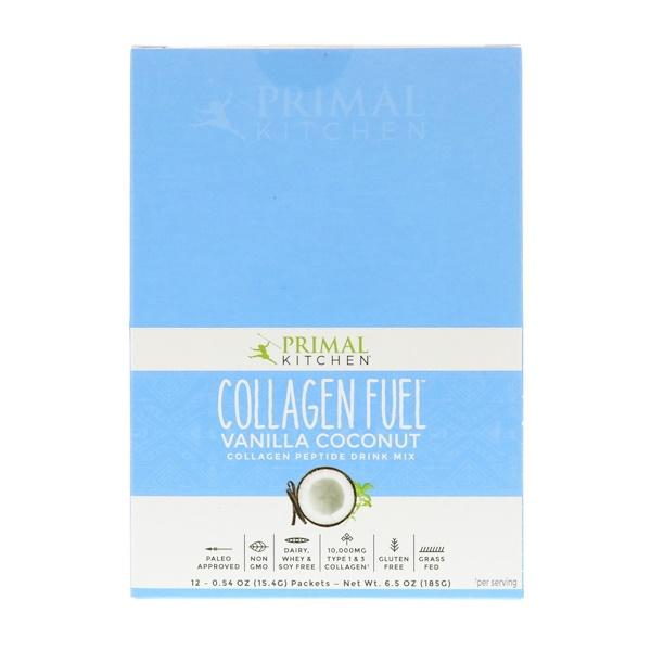 Primal Kitchen, Collagen Fuel, Collagen Peptide Drink Mix, Vanilla Coconut, 12 Packets, 0.54 oz (15.4 g) Each (Discontinued Item)