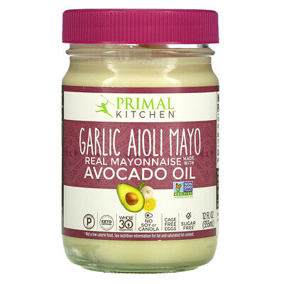 Купить Primal Kitchen Garlic Aioli Mayo, Real Mayonnaise with Avocado Oil, 12 fl oz (355 ml)