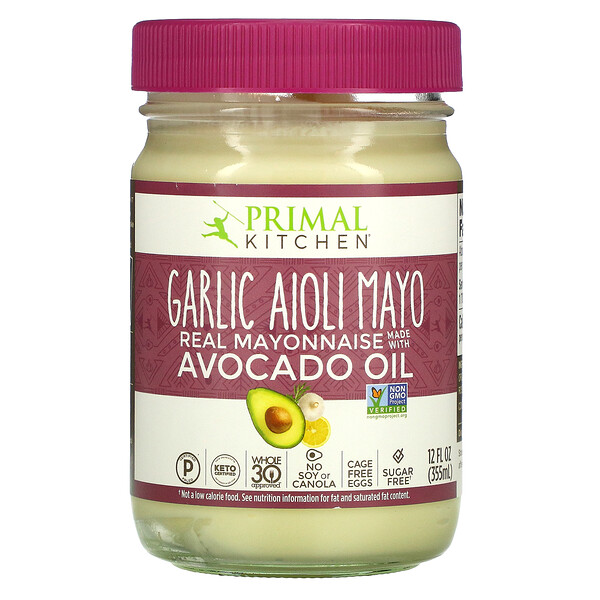 Primal Kitchen, Garlic Aioli Mayo, Real Mayonnaise with Avocado Oil,  12 fl oz (355 ml)