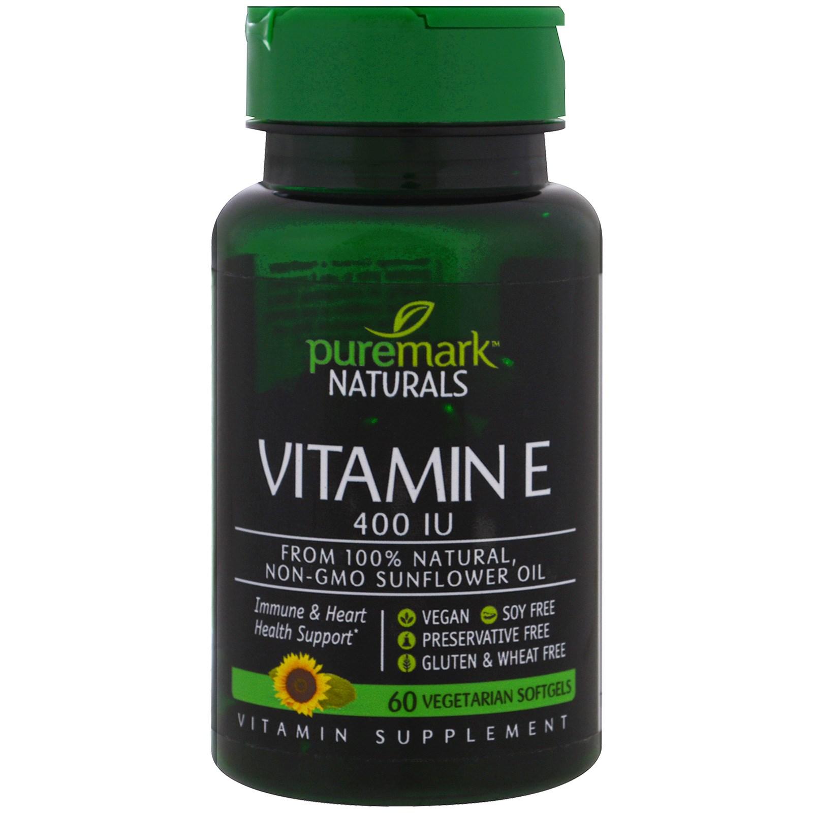 PureMark Naturals, Витамин Е, 400 МЕ, 60 вегетарианских капсул