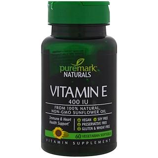 PureMark Naturals, Vitamin E, 400 IU, 60 Vegetarian Softgels