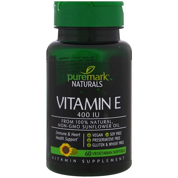 PureMark Naturals, Витамин Е, 400 МЕ, 60 вегетарианских капсул (Discontinued Item)