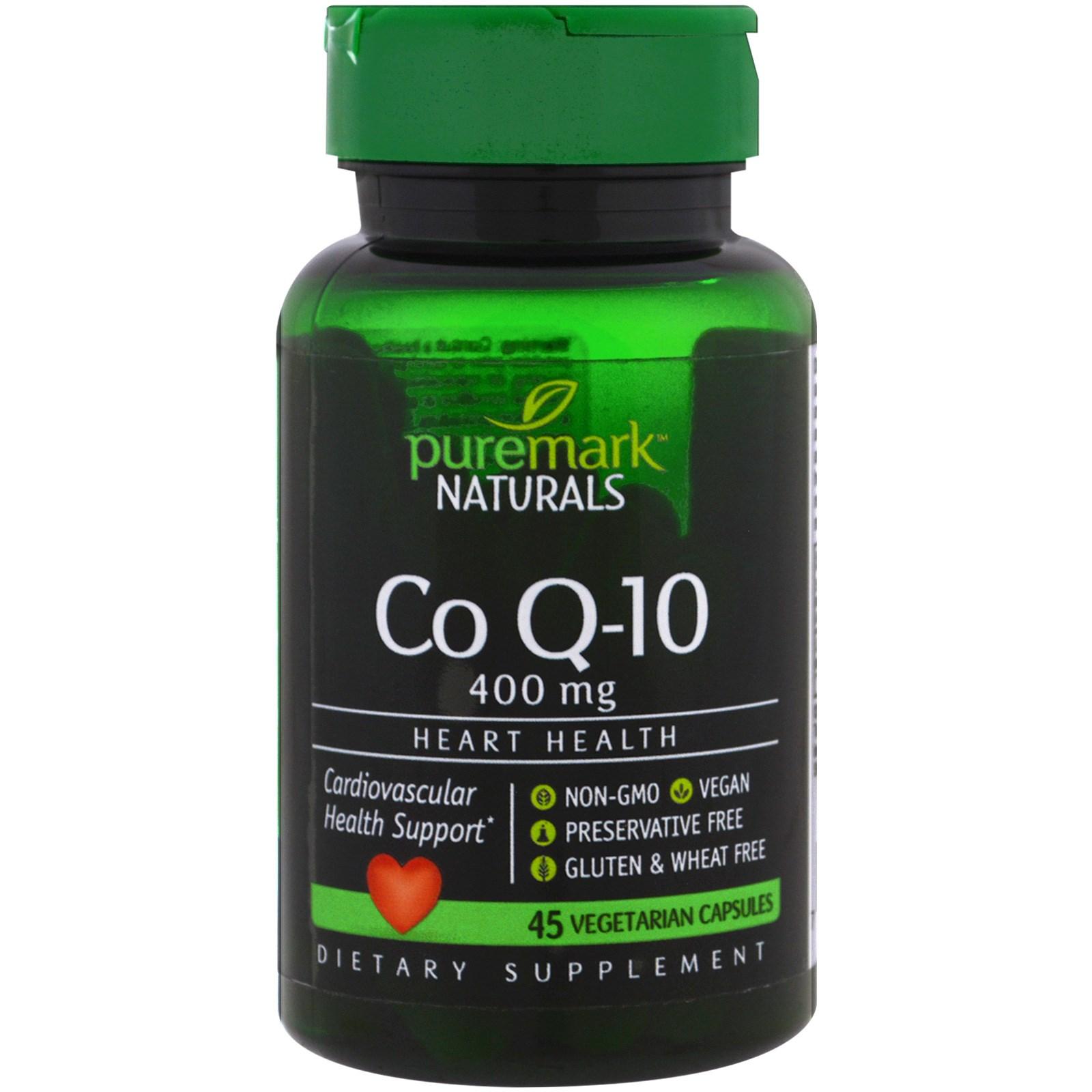 PureMark Naturals, CoQ10, 400 мг, 45 вегетарианских капсул