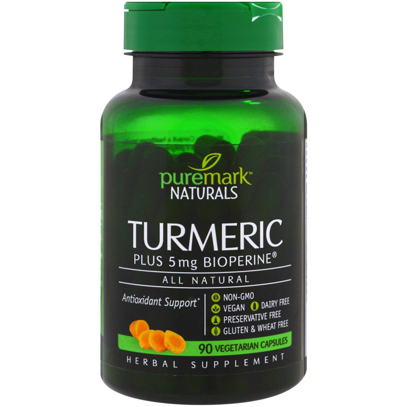 PureMark Naturals, Куркума, 90 вегетарианских капсул