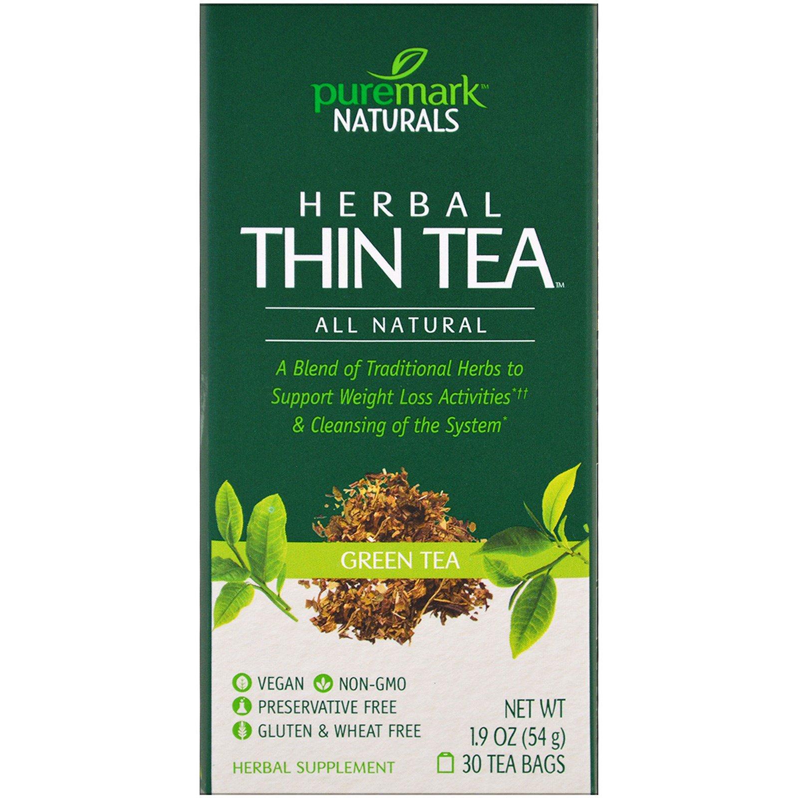 PureMark Naturals, Травяной чай для похудения, зеленый чай, 30 чайных пакетиков, 1,9 унции (54 г)