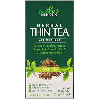 PureMark Naturals, Herbal Thin Tea, Green Tea , 30 Tea Bags, 1.9 oz (54 g)