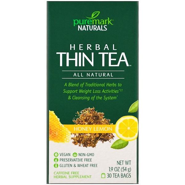 PureMark Naturals, Травяной чай для похудения, мед и лимон, 30 чайных пакетиков, 1,9 унции (54 г) (Discontinued Item)