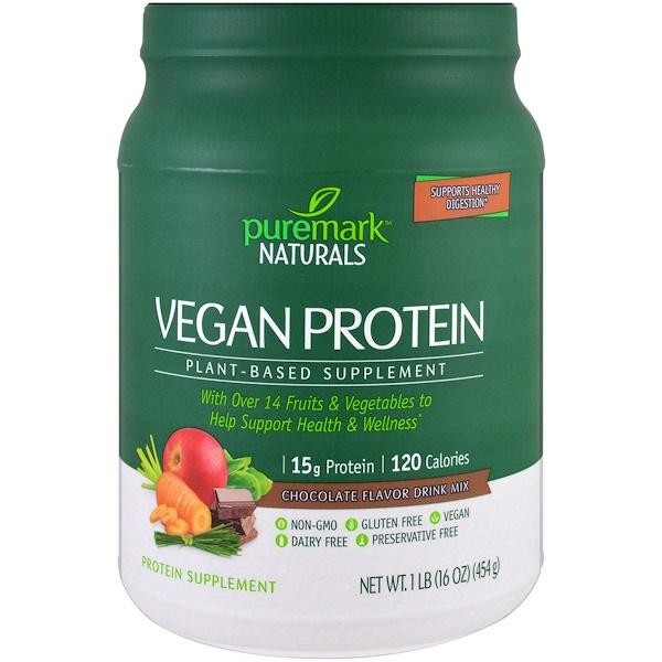 PureMark Naturals, 素食蛋白,基於植物的補充劑,巧克力味混合飲品,16 盎司(454 克)