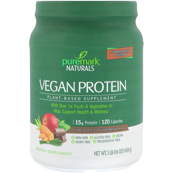 PureMark Naturals, ビーガンプロテイン、植物性サプリ、チョコレート味ドリンクミックス、16 oz (454 g) (Discontinued Item)