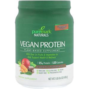 ПуреМарк Натуралс, Vegan Protein, Plant-Based Supplement, Chocolate Flavor Drink Mix, 16 oz (454 g) отзывы