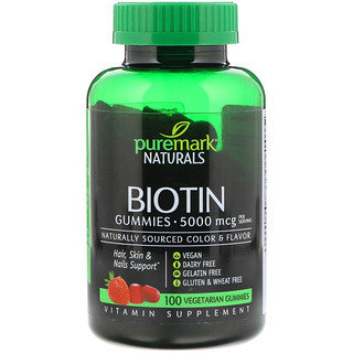 PureMark Naturals, Biotin, 5000 mcg, 100 Vegetarian Gummies