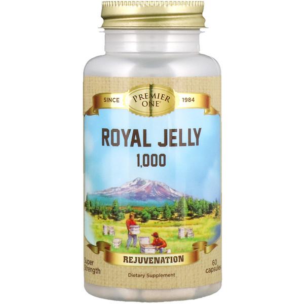 Premier One, غذاء ملكات النحل رويال جيلي 1000، 60 كبسولة نباتية