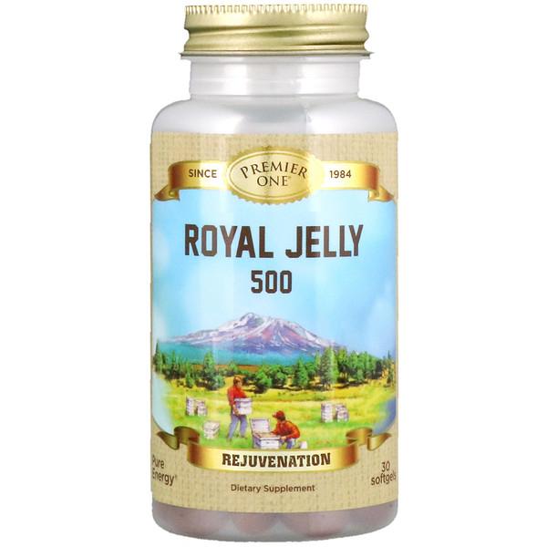 Premier One, غذاء ملكات النحل رويال جيلي 500، 30 كبسولة نباتية