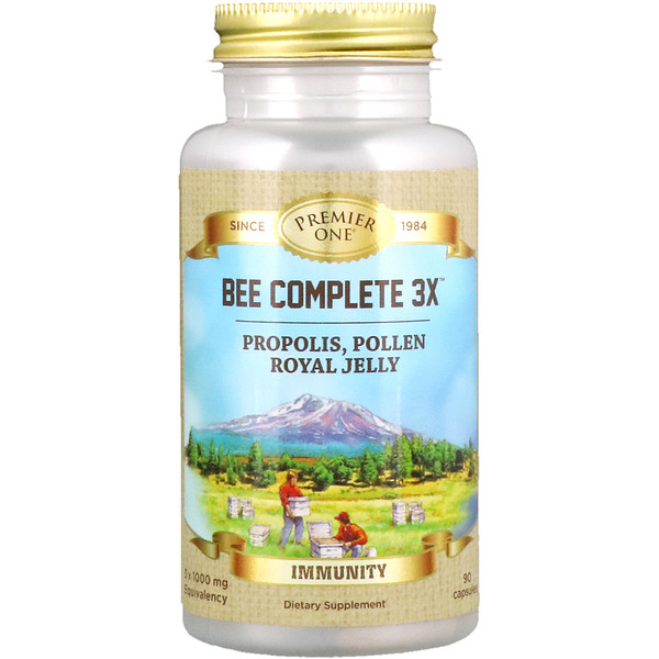 Premier One, Bee Complete 3X, Propolis, Pollen, Royal Jelly, 90 Capsules (Discontinued Item)