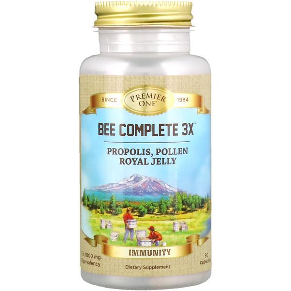 Premier One, Bee Complete 3X، دنج، حبوب اللقاح، غذاء ملكات النحل الكامل رويال جيلي، 90 كبسولة