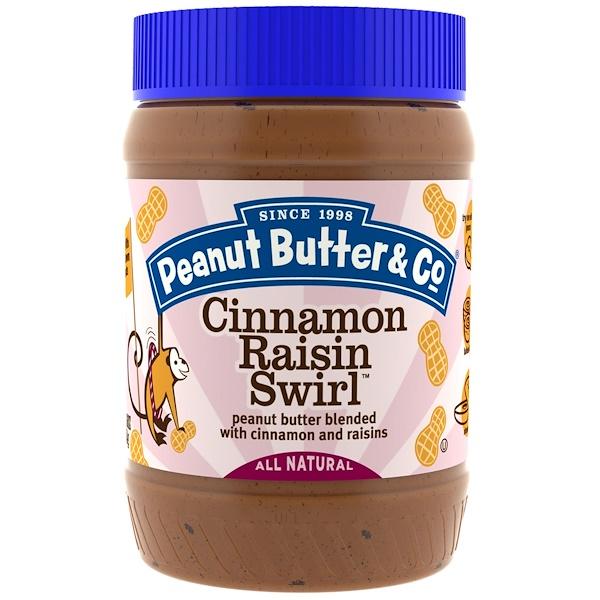 Peanut Butter & Co、, Cinnamon Raisin Swirl,花生醬與肉桂和葡萄乾相混合,16盎司(454克)