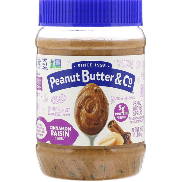 Cinnamon Raisin Swirl, Peanut Butter Blended with Cinnamon and Raisins, 16 oz (454 g)